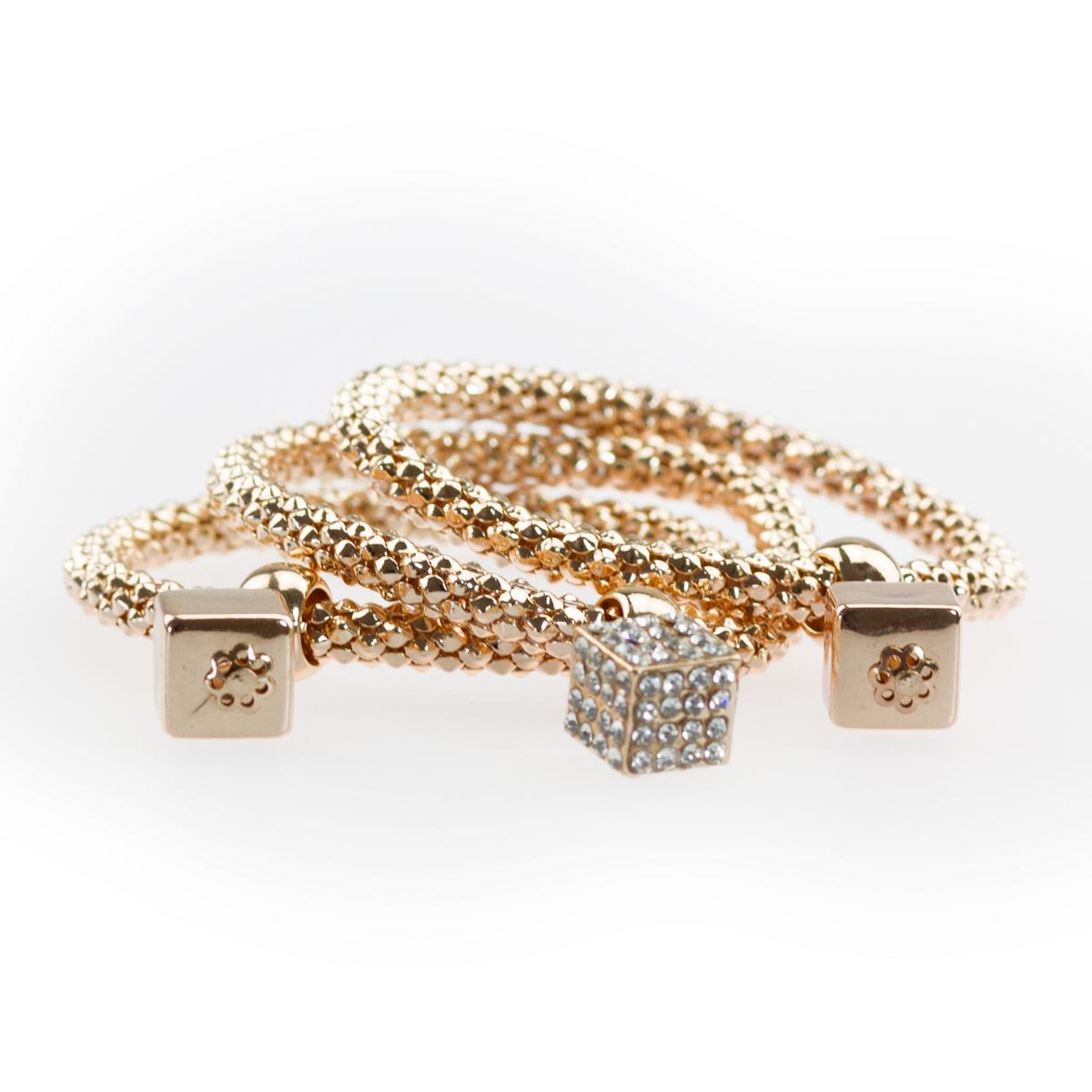3 teiliges damen armband s09 w rfel gold strass anh nger